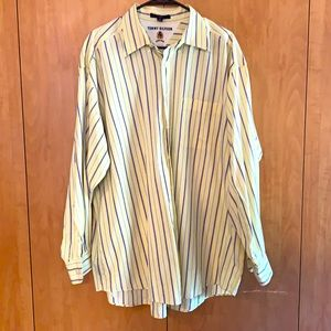 Tommy Hilfiger 17 1/2 34-35 yellow blue button up